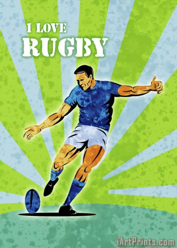 Rugby Player Kicking The Ball painting - Collection 10 Rugby Player Kicking The Ball Art Print