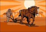 Farmer and Horse Plowing Farm Retro by Collection 10