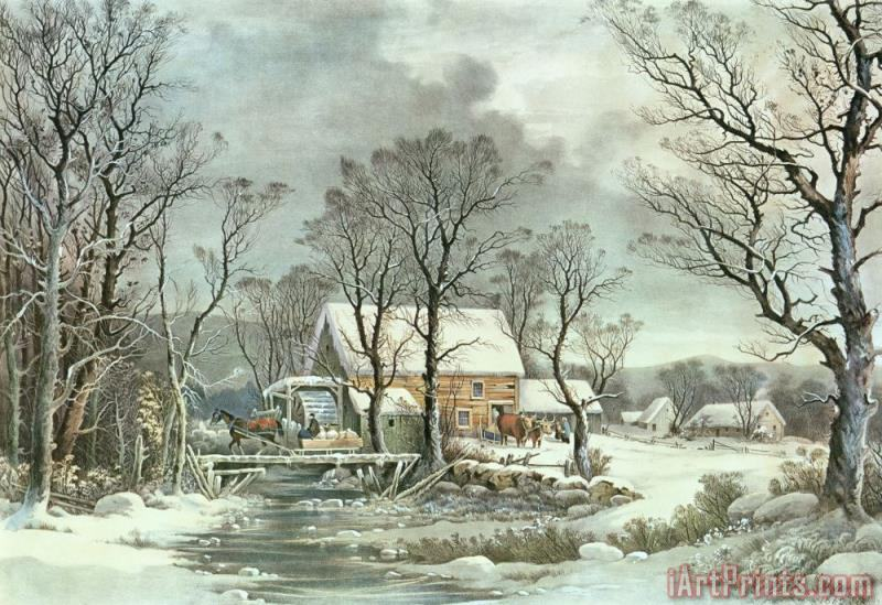 Winter in the Country - the Old Grist Mill painting - Currier and Ives Winter in the Country - the Old Grist Mill Art Print