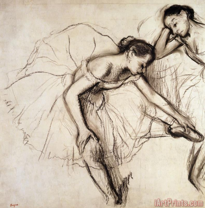 Two Dancers Resting painting - Edgar Degas Two Dancers Resting Art Print
