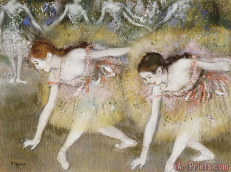 Edgar Degas Dancers Bending Down Art Painting