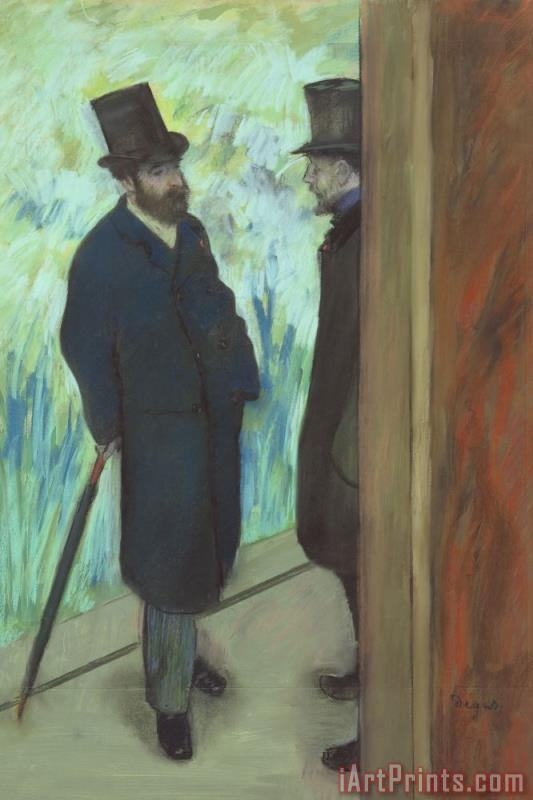 Friends at The Theatre, Ludovic Halevy (1834 1908) And Albert Cave (1832 1910) painting - Edgar Degas Friends at The Theatre, Ludovic Halevy (1834 1908) And Albert Cave (1832 1910) Art Print