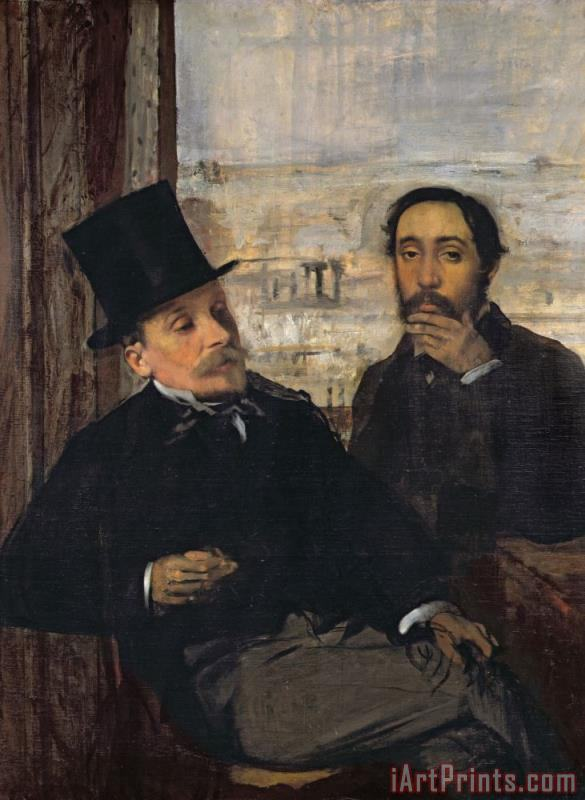 Edgar Degas Self Portrait with Evariste De Valernes (1816 96) Art Print