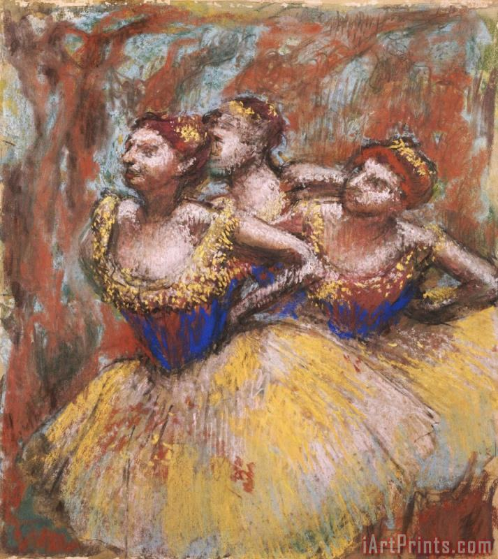 Three Dancers (yellow Skirts, Blue Blouses) painting - Edgar Degas Three Dancers (yellow Skirts, Blue Blouses) Art Print