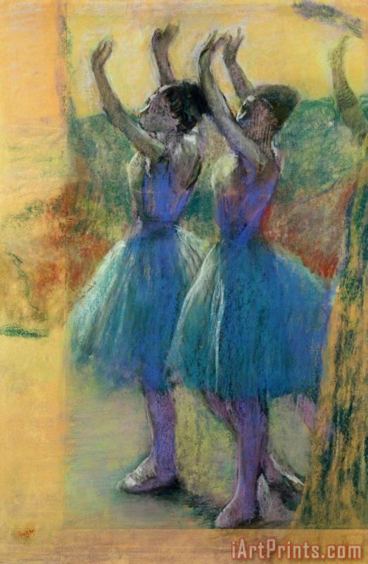 Two Blue Dancers painting - Edgar Degas Two Blue Dancers Art Print