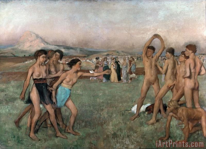 Young Spartans Exercising painting - Edgar Degas Young Spartans Exercising Art Print