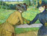 Two women leaning on a gate by Edgar Degas
