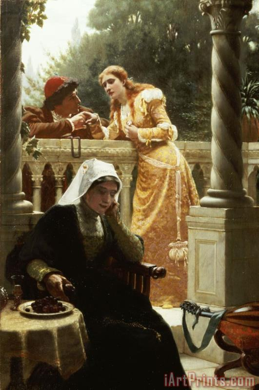Edmund Blair Leighton A Stolen Interview Art Print