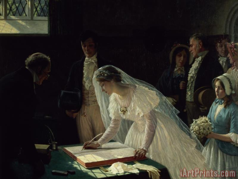 Signing the Register painting - Edmund Blair Leighton Signing the Register Art Print