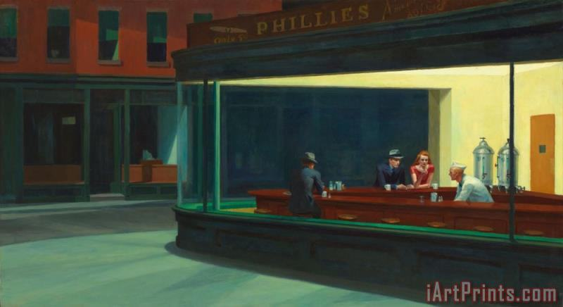 Nighthawks 1942 painting - Edward Hopper Nighthawks 1942 Art Print