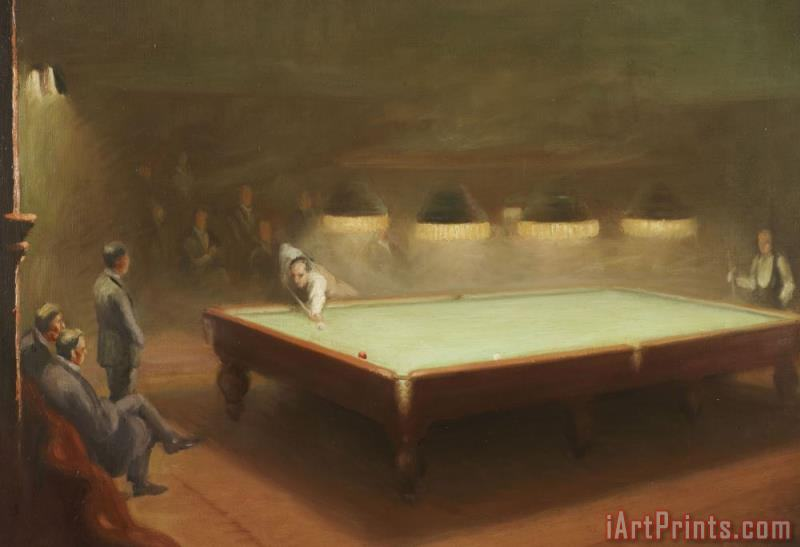 Billiard Match at Thurston painting - English School Billiard Match at Thurston Art Print