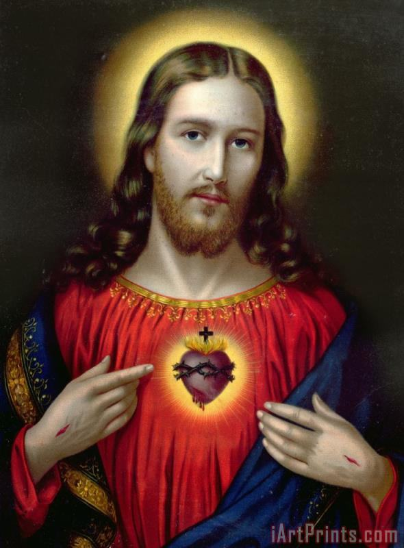 The Sacred Heart of Jesus painting - English School The Sacred Heart of Jesus Art Print