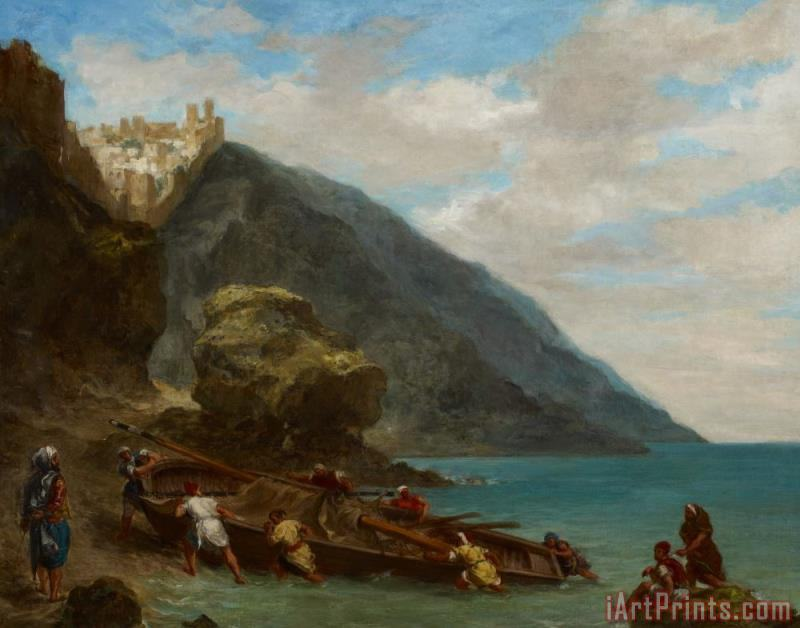 View Of Tangier From The Seashore painting - Ferdinand Victor Eugene Delacroix View Of Tangier From The Seashore Art Print