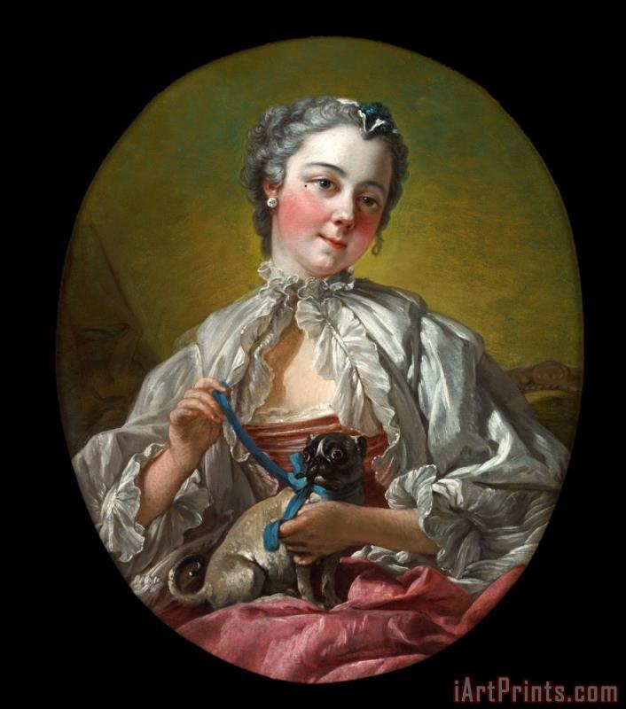 Francois Boucher A Young Lady Holding a Pug Dog Art Print