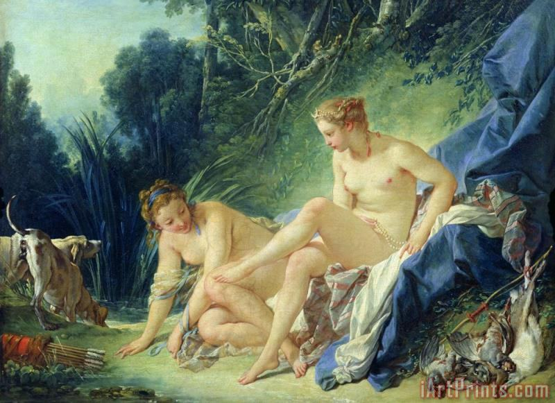 Diana getting out of her bath painting - Francois Boucher Diana getting out of her bath Art Print