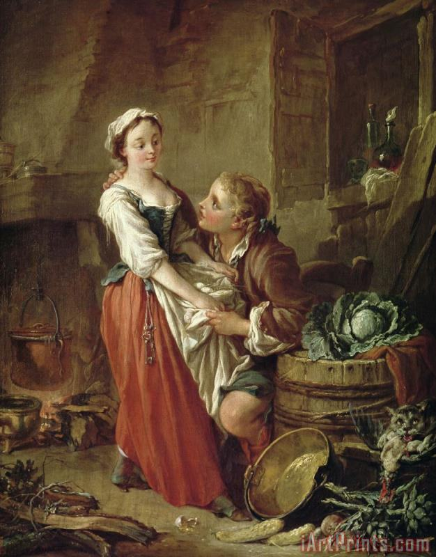 Francois Boucher The Beautiful Kitchen Maid Art Print