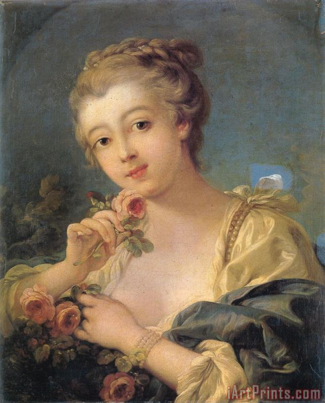 Young Woman with a Bouquet of Roses painting - Francois Boucher Young Woman with a Bouquet of Roses Art Print