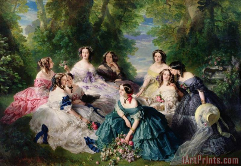 Franz Xaver Winterhalter Empress Eugenie Surrounded by her Ladies in Waiting Art Print