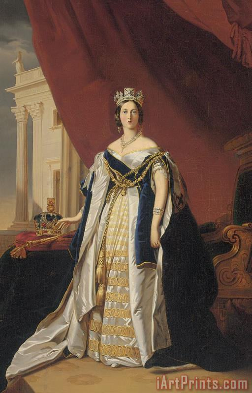 Portrait Of Queen Victoria In Coronation Robes painting - Franz Xaver Winterhalter Portrait Of Queen Victoria In Coronation Robes Art Print