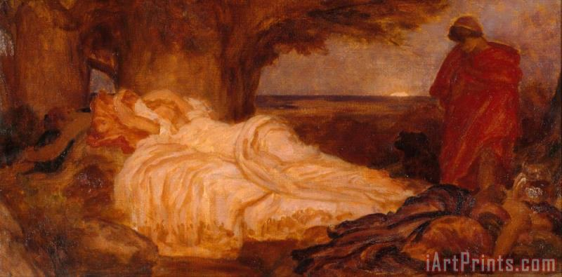 Frederic Leighton Colour Study for 'cymon And Iphigenia' Art Print
