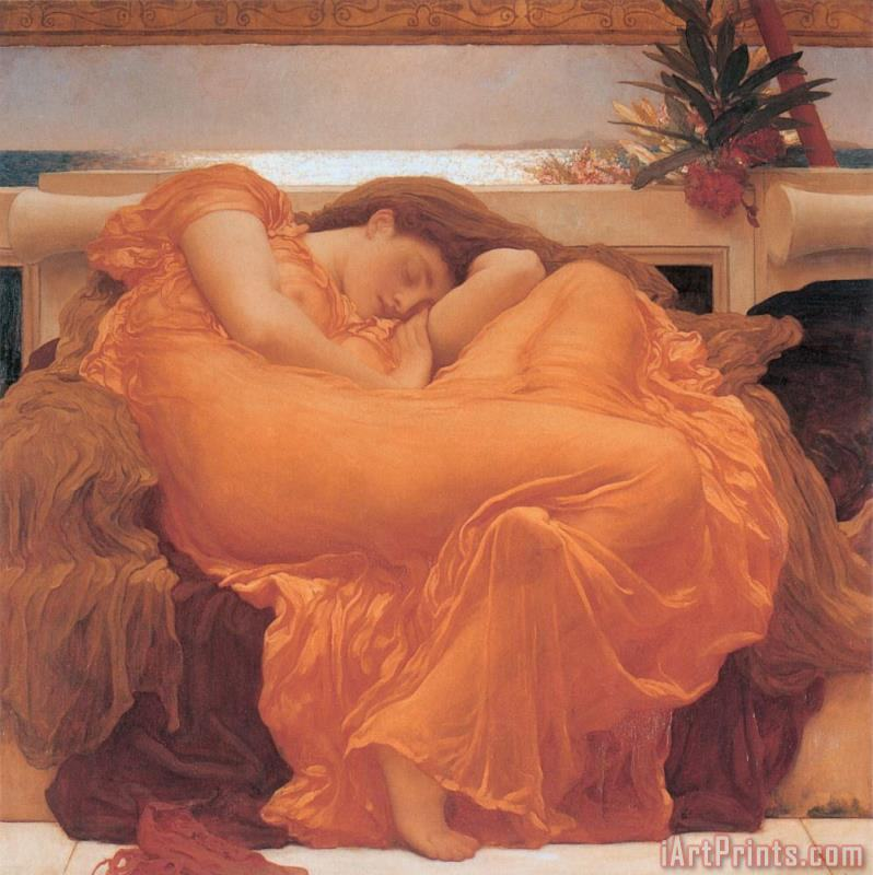 Flaming June - 1895 painting - Frederic Leighton Flaming June - 1895 Art Print