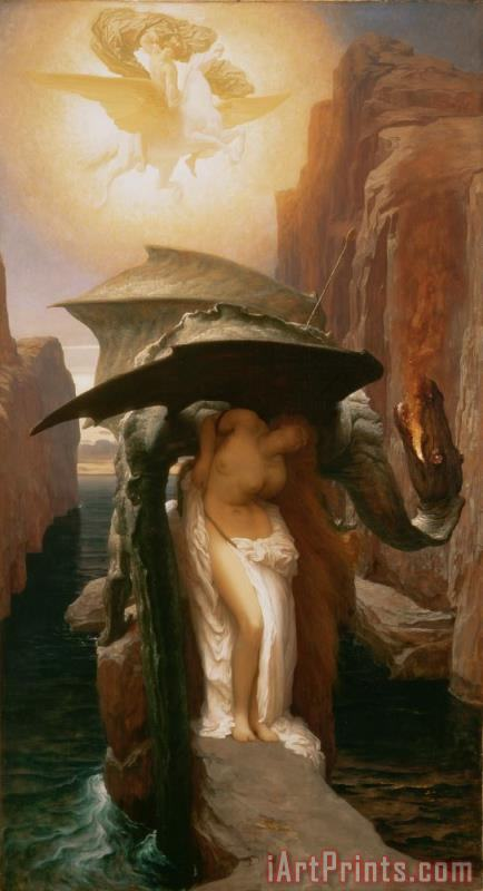 Perseus and Andromeda painting - Frederic Leighton Perseus and Andromeda Art Print