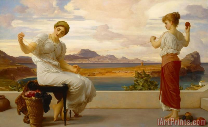 Winding The Skein painting - Frederic Leighton Winding The Skein Art Print