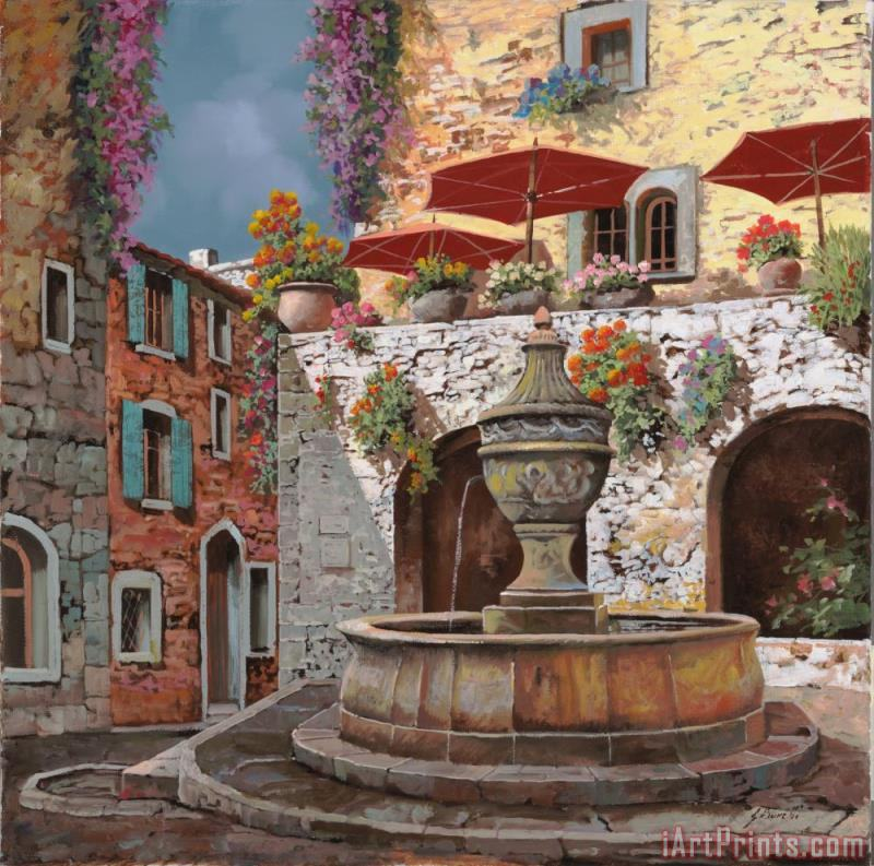la fontana a St Paul de Vence painting - Collection 7 la fontana a St Paul de Vence Art Print