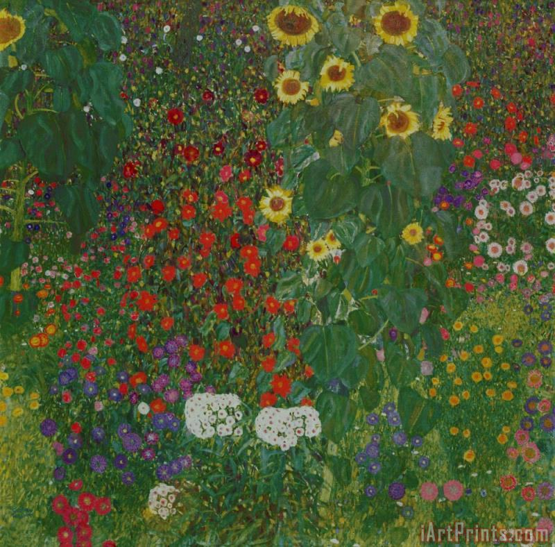 Farm Garden with Flowers painting - Gustav Klimt Farm Garden with Flowers Art Print