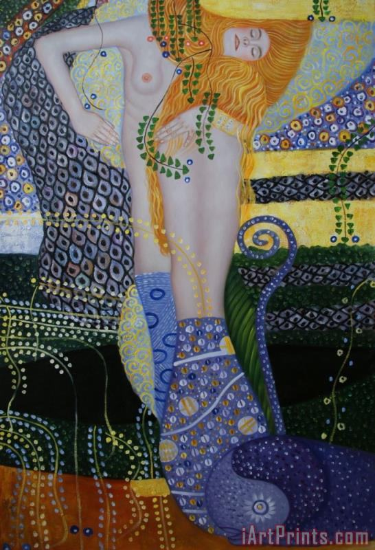 Sea Serpents painting - Gustav Klimt Sea Serpents Art Print