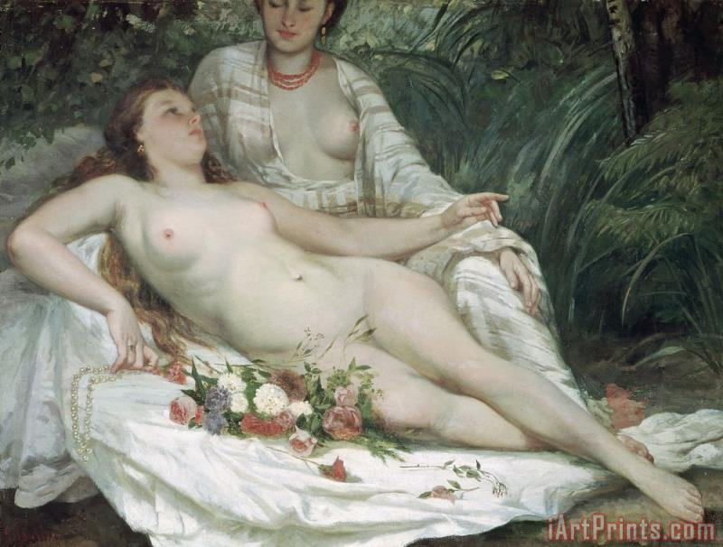 Gustave Courbet Bathers or Two Nude Women Art Print