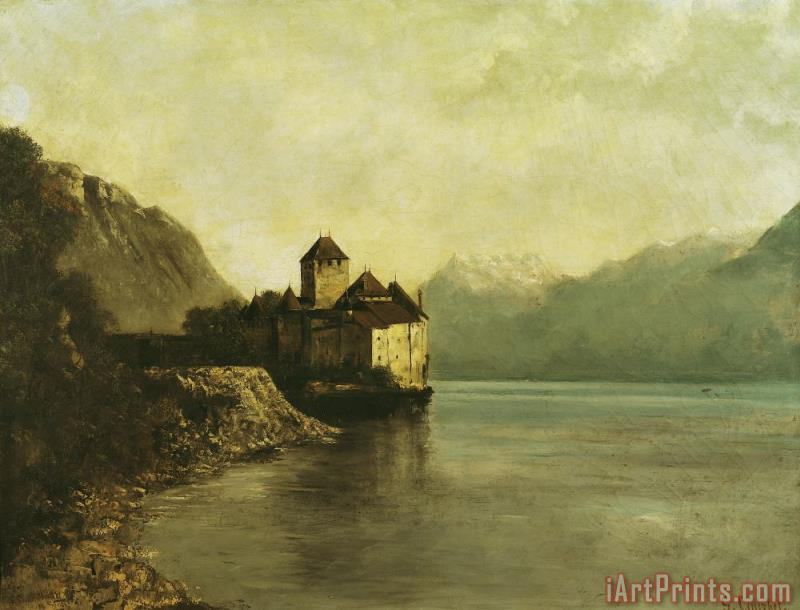 Chateau de Chillon painting - Gustave Courbet Chateau de Chillon Art Print