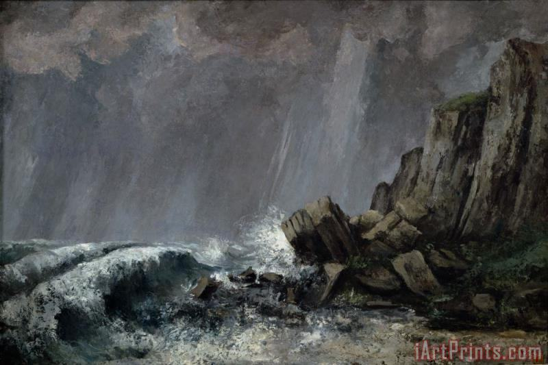 Downpour at Etretat painting - Gustave Courbet Downpour at Etretat Art Print