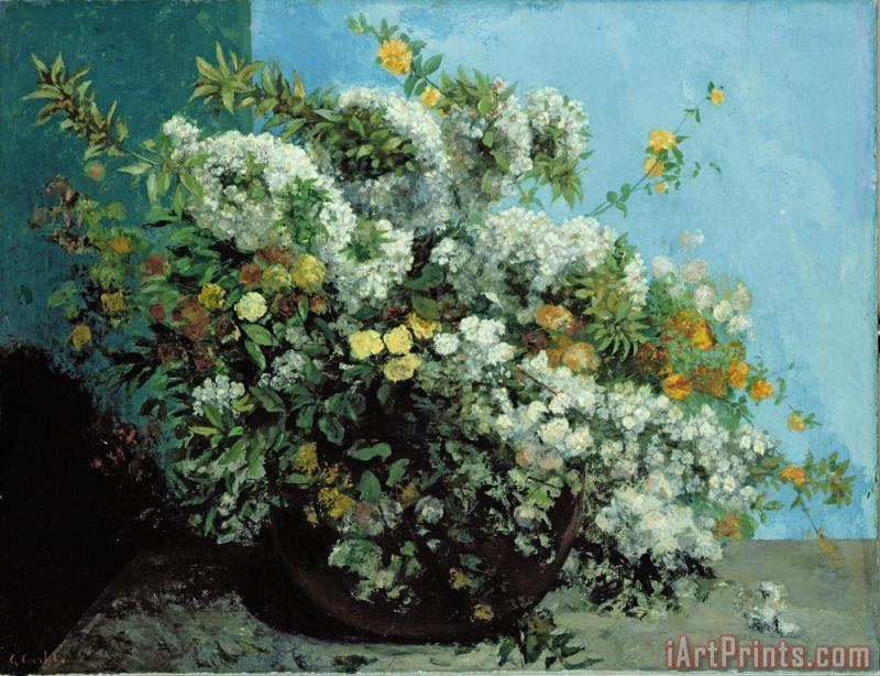 Flowering Branches and Flowers painting - Gustave Courbet Flowering Branches and Flowers Art Print