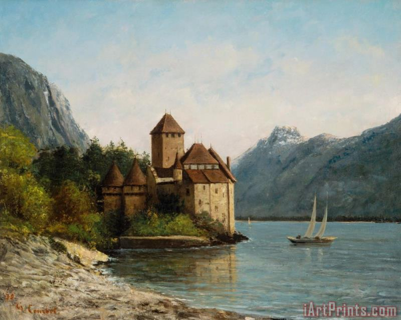 The Castle of Chillon Evening painting - Gustave Courbet The Castle of Chillon Evening Art Print