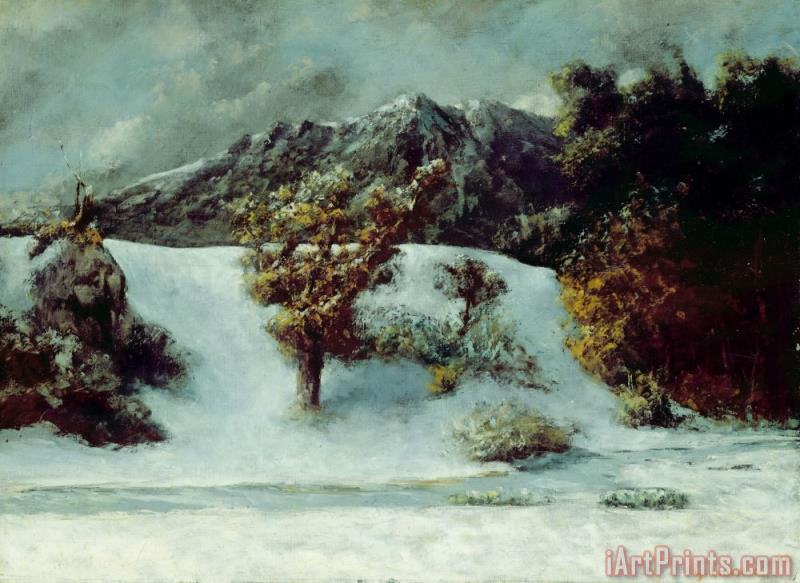 Gustave Courbet Winter Landscape With The Dents Du Midi Art Print