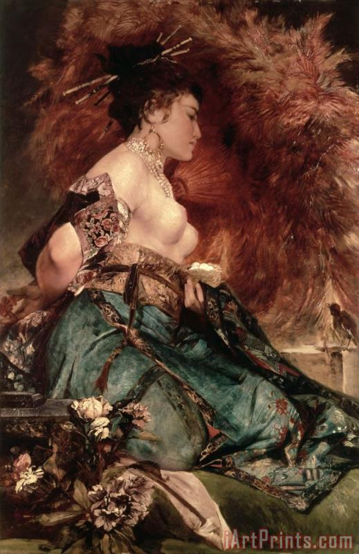 Hans Makart Japanese girl Art Painting
