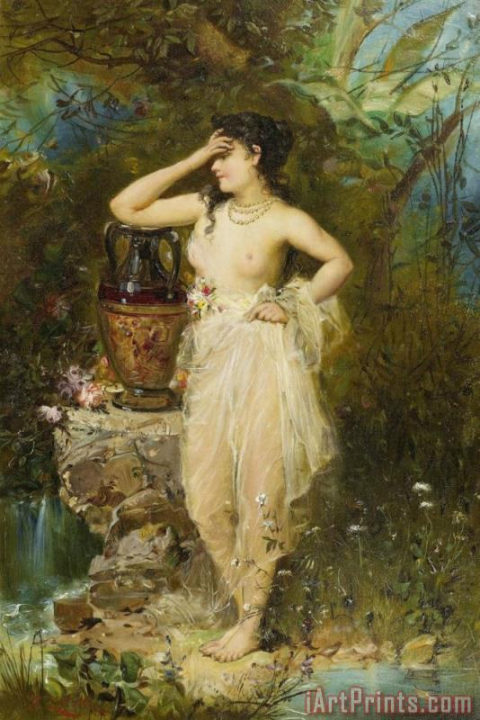 A Beautiful Woman Bathing painting - Hans Zatzka A Beautiful Woman Bathing Art Print