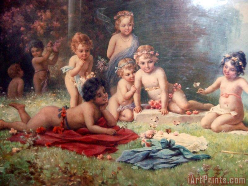 Cherubs in Garden painting - Hans Zatzka Cherubs in Garden Art Print