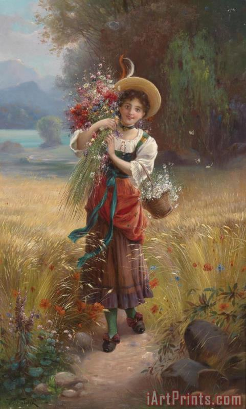 Circle Flower Girl painting - Hans Zatzka Circle Flower Girl Art Print