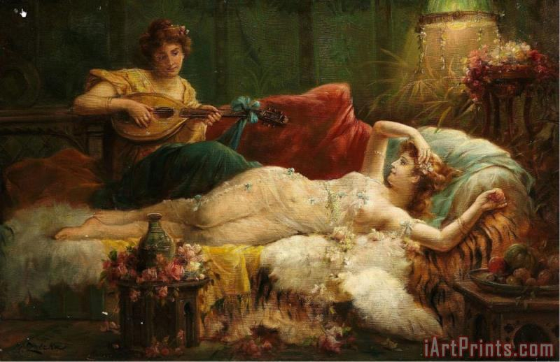 Hans Zatzka Interior with a Lightly Dressed Woman And a Lute Player Art Print