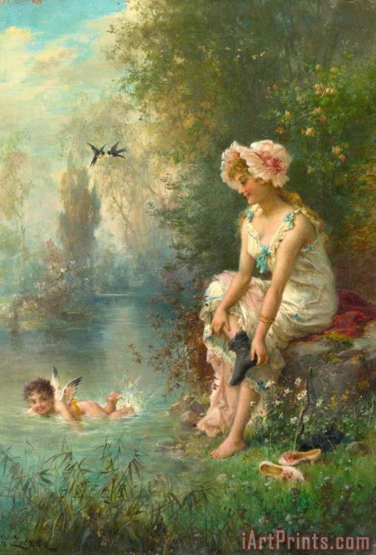 Hans Zatzka Love by The River's Edge Art Painting