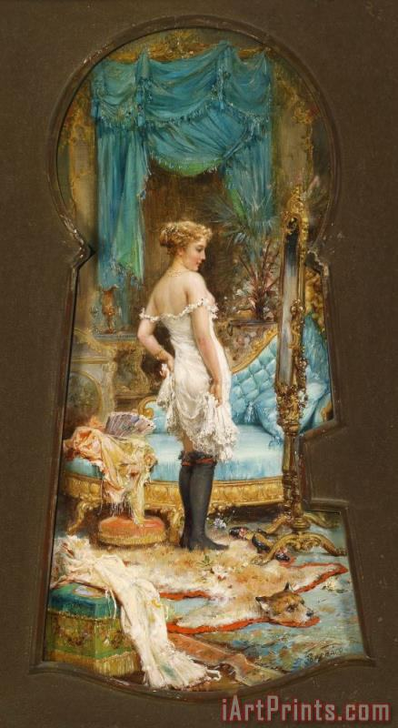 Seen Through The Keyhole painting - Hans Zatzka Seen Through The Keyhole Art Print