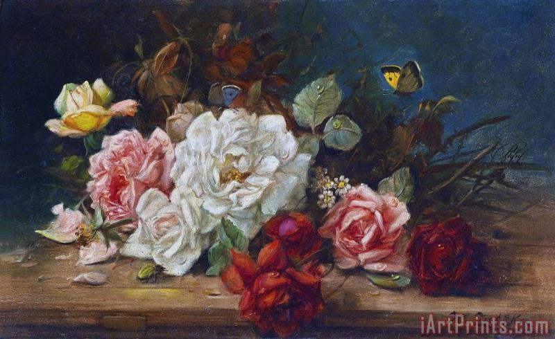Hans Zatzka Still Life with Flowers And Butterfly Art Print