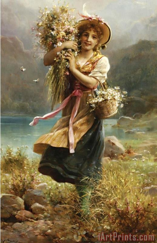 The Flower Girl painting - Hans Zatzka The Flower Girl Art Print