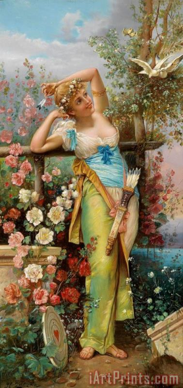 The Messenger of Love painting - Hans Zatzka The Messenger of Love Art Print