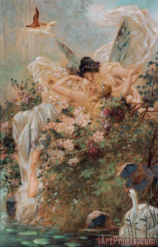 Two Fairies Embracing in a Landscape with a Swan Circa painting - Hans Zatzka Two Fairies Embracing in a Landscape with a Swan Circa Art Print
