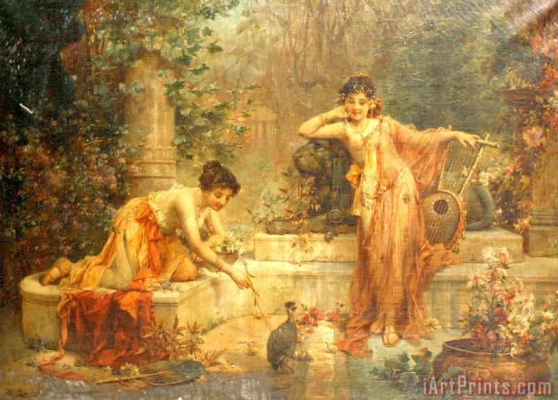 Untitled5 painting - Hans Zatzka Untitled5 Art Print
