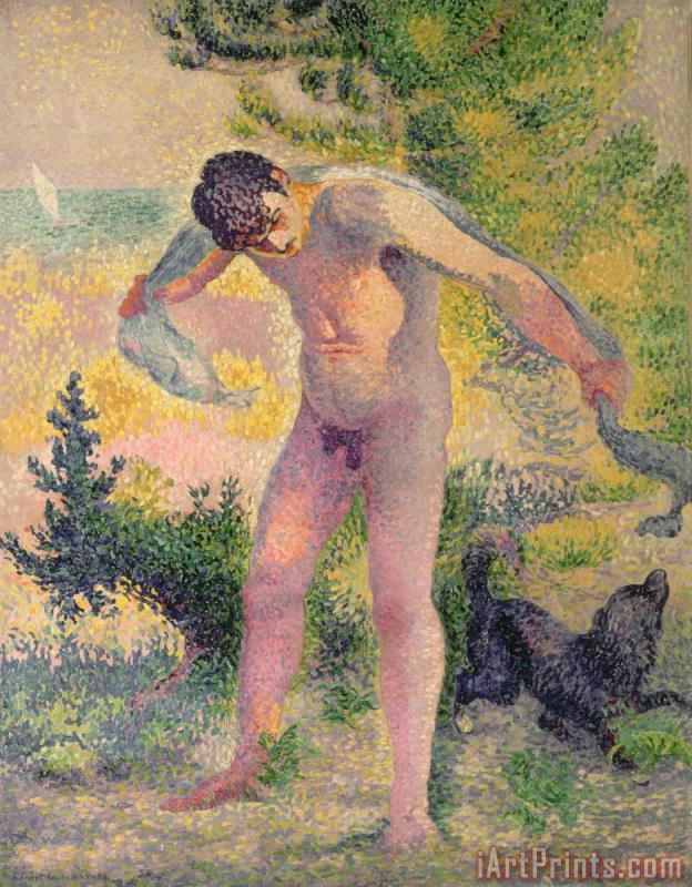 Bather drying himself at St Tropez painting - Henri-Edmond Cross Bather drying himself at St Tropez Art Print