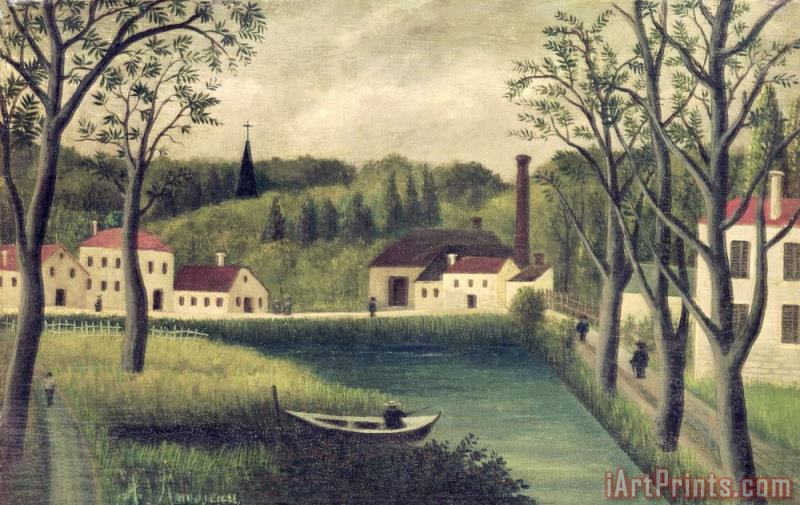 Landscape with a Fisherman painting - Henri Rousseau Landscape with a Fisherman Art Print